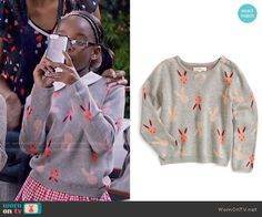 Diane's grey and pink bunny print sweater on Black-ish Fashion Tv, Fashion Outfits, Black Ish, Little Diva, Queens, Bunny, Cute Outfits, Ruffle Blouse, Celebrity