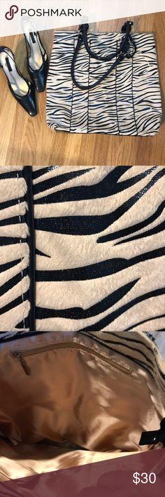Zebra Print tote. Large Zebra print tote large Height 15 Width 13 Strap drop 9 1/2 Excellent condition Bags Totes