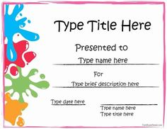 Sports Certificate - Art Award Certificate within Free Art Certificate Templates - Best & Professional Templates Ideas Free Printable Certificate Templates, Art Certificate, Certificate Of Achievement Template, Award Certificates, Templates Free, Printable Art, Reading Certificate, Attendance Certificate, Printables
