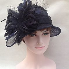 24befc7702f Sinamay Wedding Kentucky Derby Church Downton Abbey Feather Dress Hat 3