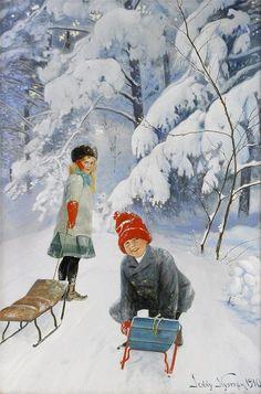 Winterbild von ---- Winterpicture by Jenny Nystrom, - Talvi Winter Illustration, Art Et Illustration, Christmas Illustration, Illustrations, Christmas Scenes, Christmas Art, Winter Christmas, Holiday, Vintage Christmas Cards