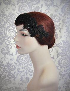 Black Lace Headband, Black Bridal Hair Accessories, Black Hair Accessory, Goth, Lace Headpiece, Black wedding, Vintage style - 111HB by Januaryroseboutique on Etsy https://www.etsy.com/listing/113193945/black-lace-headband-black-bridal-hair