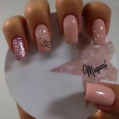 Valentine's Day Nail Designs, Square Nail Designs, Natural Nail Designs, Simple Nail Art Designs, Gold Acrylic Nails, Acrylic Nail Powder, Silver Nails, Wow Nails, Cute Nails