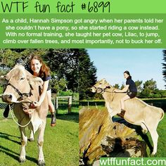Girl rides her pet cow - WTF fun fact