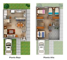 Planos de Casas y Plantas Arquitectónicas de Casas y Departamentos: Plano arquitectónico de casa de dos plantas con terraza al frente