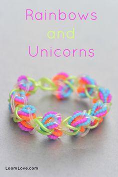 How to Make a Rainbows and Unicorns Bracelet on a Hook - Rainbow Loom video tutorial