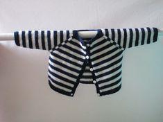 Makerist - Gilet bébé bleu marine à  rayures blanches en mérinos et son bonnet - Créations de tricot - 1