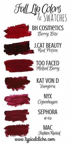Fall Lip Colors and Swatches; Fall Berry Lip Colors guide- High end and Drugstor. - Fall Lip Colors and Swatches; Fall Berry Lip Colors guide- High end and Drugstore Berry Lip colors - All Things Beauty, Beauty Make Up, Hair Beauty, Too Faced, Kat Von D, Makeup Trends, Makeup Tips, Makeup Ideas, Sephora