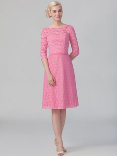 Pin to Win a Wedding Gown or 5 Bridesmaid Dresses! Simply pin your favorite dresses on www.forherandforhim.com to join the contest! | Lace Dress with Half Sleeves $189.99