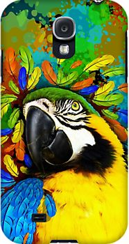 #Gold and #Blue #Macaw #Parrot #Fantasy  - #Samsung_Galaxy_Cases - by BluedarkArt on #Redbubble