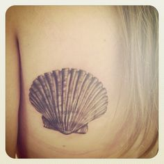 seashell tattoo; great detail
