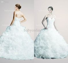 Wholesale Organza - Buy 20131010 Hot Selling Cheap Sexy Strapless Sweetheart Beaded Lace Organza Backless Winter Vintage Ball Gown Wedding Dresses ABC220, $169.99 | DHgate