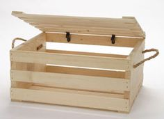 Painted Wood Crates featuring a rope handle and lid. This wood display crate is available in many colors to create the perfect wood display for your store. Display fruits or other small items in this wood display crate. Large Wooden Crates, Small Wood Box, Wood Crates, Wood Boxes, Wood Display, Display Boxes, Storage Boxes, Storage Organization, Home Decor Baskets