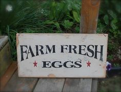 FARM FRESH EGGS primitive rustic sign by AmericasFrontPorch, $18.00