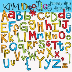 Primary alpha digital clipart clip art by kpmdoodles on Etsy, $3.50