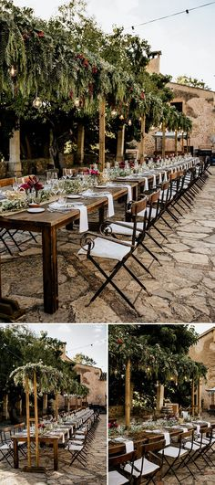 Add drama to your outdoor wedding decor with lots of greenery - makes for a beautiful statement reception under the stars and branches.  #OutdoorWedding #WeddingGreenery