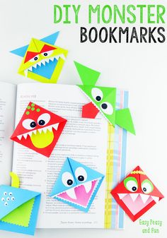 Monster Bookmark Craft - Diy Corner Bookmarks Cute Monsters Easy Peasy And Fun Diy Corner Bookmarks Cute Monsters Easy Peasy And Fun Easy Paper Monster Owl Corner Bookmarks Yo. Crafts To Do, Craft Projects, Crafts For Kids, Arts And Crafts, Craft Ideas, Diy Bookmarks, Corner Bookmarks, Origami Bookmark, Bookmarks