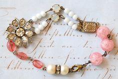 Vintage pink beaded old rhinestone charm bracelet...Margaret. $38.00, via Etsy.