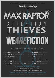 Max Raptor, Attention Thieves and We Are Fiction co-headline Dec tour - #AltSounds