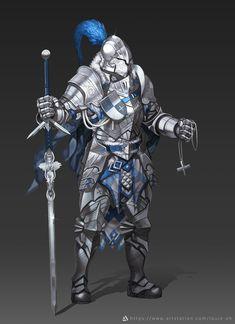 Paladin Knight, Hyun sung oh / Louie_OH Fantasy Male, Fantasy Armor, Medieval Fantasy, Dragon Knight, Knight Art, Fantasy Characters, Dnd Characters, Mythical Dragons, Armadura Medieval