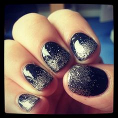 Black shellac nails with glitter!