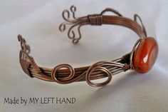 Antiqued Copper Wire Wrapped Cuff Bracelet by MadeByMyLeftHand, $40.00
