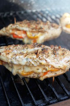 Grilled Chicken Stuffed With Cheese And Peppers - chicken - sweet peppers - sliced pepper jack cheese - slices Colby jack cheese - creole seasoning - pepper - garlic powder - onion powder - extra virgin olive oil - toothpicks