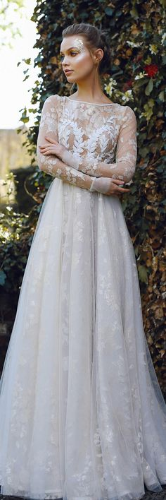 Wedding dress ILAYN, couture wedding dress, long sleeved wedding dress, milk