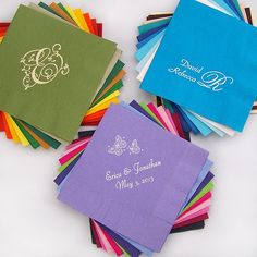 5 x 5 Personalized 3-ply paper cocktail and beverage napkins are printed with a design or monogram and up to 3 lines of custom text in the napkin color, letter style and imprint color of your choice.