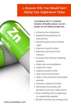 15 Reasons Why You Should Start Taking #Zinc Supplement Today.
