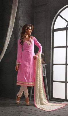 Step out with ever lasting elegance and flaunt your traditional looks by donning this pink shade chanderi cotton silk chudidar suit. The lace work personifies the overall appearance.  #FashionableCasualDress