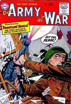 A cover gallery for the comic book Our Army at War Action Story, Best Comic Books, Hit The Floors, Silver Age Comics, Comic Covers, News Stories, Golden Age, Army, Author