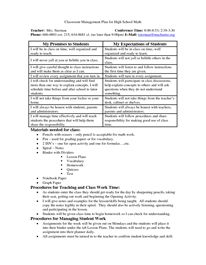 classroom management plan sample high school