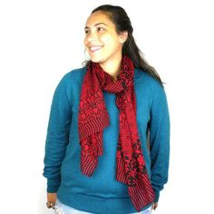 Deep Red and Black Floral Cotton Scarf Handmade for women