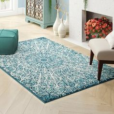 Dakota Fields Geometric Blue Area Rug | Wayfair Cream Area Rug, Blue Area Rugs, Rooms To Let, Dark Blue Rug, Turquoise Rug, Glass Top Coffee Table, Transitional Living Rooms, Cream Roses, Rugs In Living Room