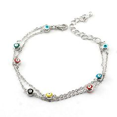 """Fashion Evil Eye Beaded Bracelet; 7""""L with 2"""" L extension chain; Silver double layered chain with Evil Eye beads; Multicolored beads; Eileen's Collection. $19.99"""