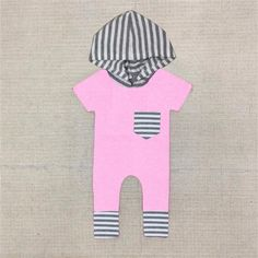 Pink and Grey Striped Hooded Romper