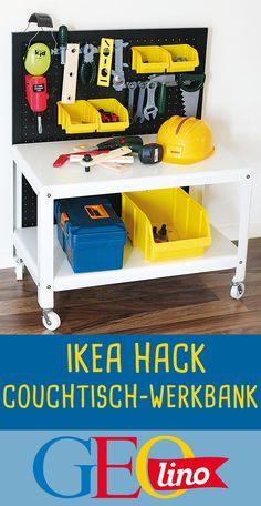 Mit diesem IKEA HACK verwandelt ihr einen Couchtisch in eine coole Werkbank! #ikea #ikeahack #ikeaideas #basteln #upcycling