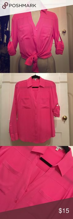 Sassy pink blouse Super easy to wash, hang dry, wrinkle free, hot pink, perfect for summer or to brighten up dark days, great for work with an easy transition to a night style. Perfect with everything from pencil skirts to jeans! Express Tops Blouses