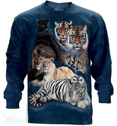 Big Cat Collage Long Sleeve Tee - Womens Clothing - Mens Clothing - Unisex T-Shirts - Cotton T-Shirts - Long Sleeve T-Shirts - Long Sleeve T-Shirt - Christmas Ideas - Presents for Christmas
