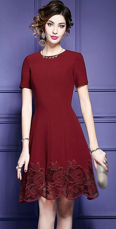 Chic O-Neck Lace Patchwork Skater Dress