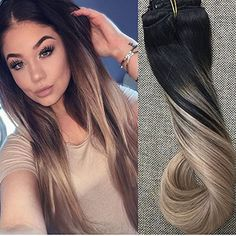 Details about Brazilian Remy Clip In Human Hair Extension Ombre Balayage Straight – Hair Styles Black Hair Ombre, Blond Ombre, Ombre Hair Color, Hair Color Balayage, Cool Hair Color, Brown Hair Colors, Ash Blonde, Hair Colour, Black Hair Extensions