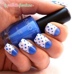 blue and white polka dot half moon manicure