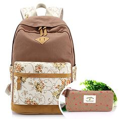 SymbolLife Casual Style Lightweight Canvas Laptop Backpack Cute Travel School College Shoulder Bag for Teenage GirlsStudentsWomenWith Laptop Compartment with One Free Pen Bag Khaki ** You can find more details by visiting the image link.