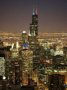 Sears Tower, Chicago, at night. Chicago At Night, Chicago Usa, Chicago Travel, Chicago City, Chicago Illinois, Chicago Skyline, Milwaukee City, Photographie New York, The Blues Brothers