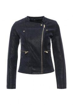 Куртка кожаная oodji, цвет: синий. Артикул: OO001EWILD95. Женская одежда / Верхняя одежда / Кожаные куртки