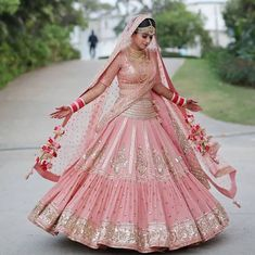 Astounding Pastel Lehengas That Are In Vogue This Season Indian Bridal Outfits, Indian Bridal Fashion, Indian Bridal Wear, Indian Designer Outfits, Pink Bridal Lehenga, Designer Bridal Lehenga, Indian Bridal Lehenga, Pink Lehenga, Sabyasachi Lehenga Bridal