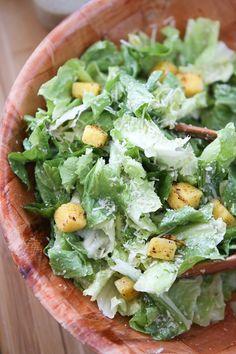 Escarole Caesar Salad with Parmesan Walnut Lemon Vinaigrette and Polenta Croutons - a delicious twist on caesar salad! Recipe from @aggieskitchen #thinkfisher