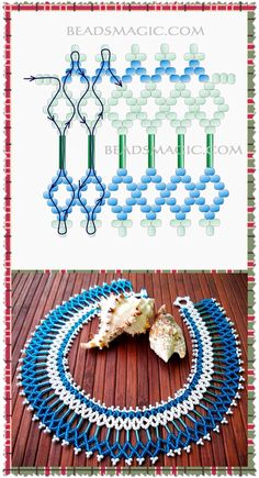 Collar Beaded Necklace Patterns, Seed Bead Patterns, Beading Patterns, Beaded Crafts, Beaded Ornaments, Jewelry Crafts, Bead Jewellery, Seed Bead Jewelry, Beading Projects