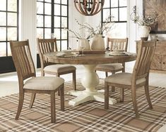 Grindleburg - Light Brown - Dining UPH Side Chair x x - lbs Grindleburg - Antique White - Dining Room Table x x - lbs Grindleburg - Light Brown - Round Dining Room Table x x - lbs Made with Pine solids in a two-toned finish application Dining Room Server, Dining Room Walls, Dining Room Sets, Dining Room Design, Side Chairs, Dining Chairs, Dinning Table, Kitchen Tables, Round Dining Set